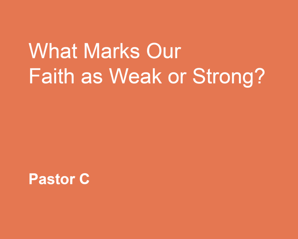 What Marks Our Faith as Weak or Strong