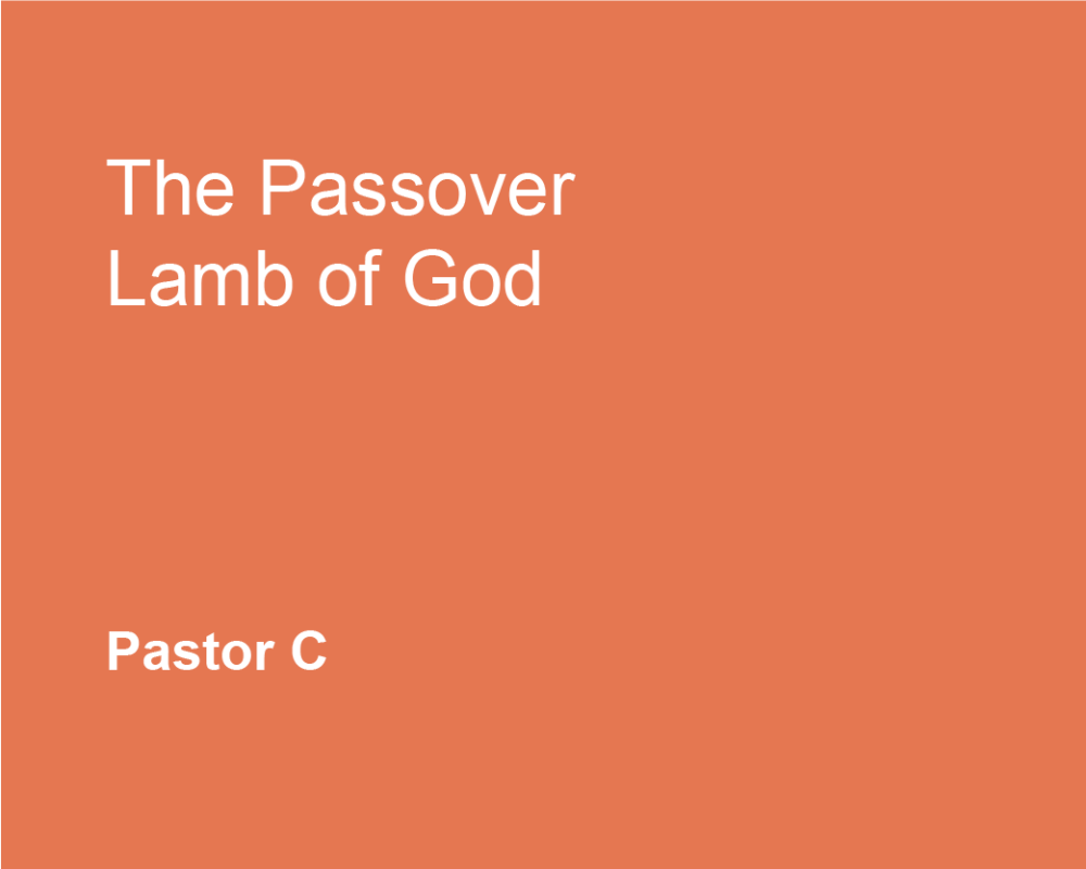 The Passover Lamb of God