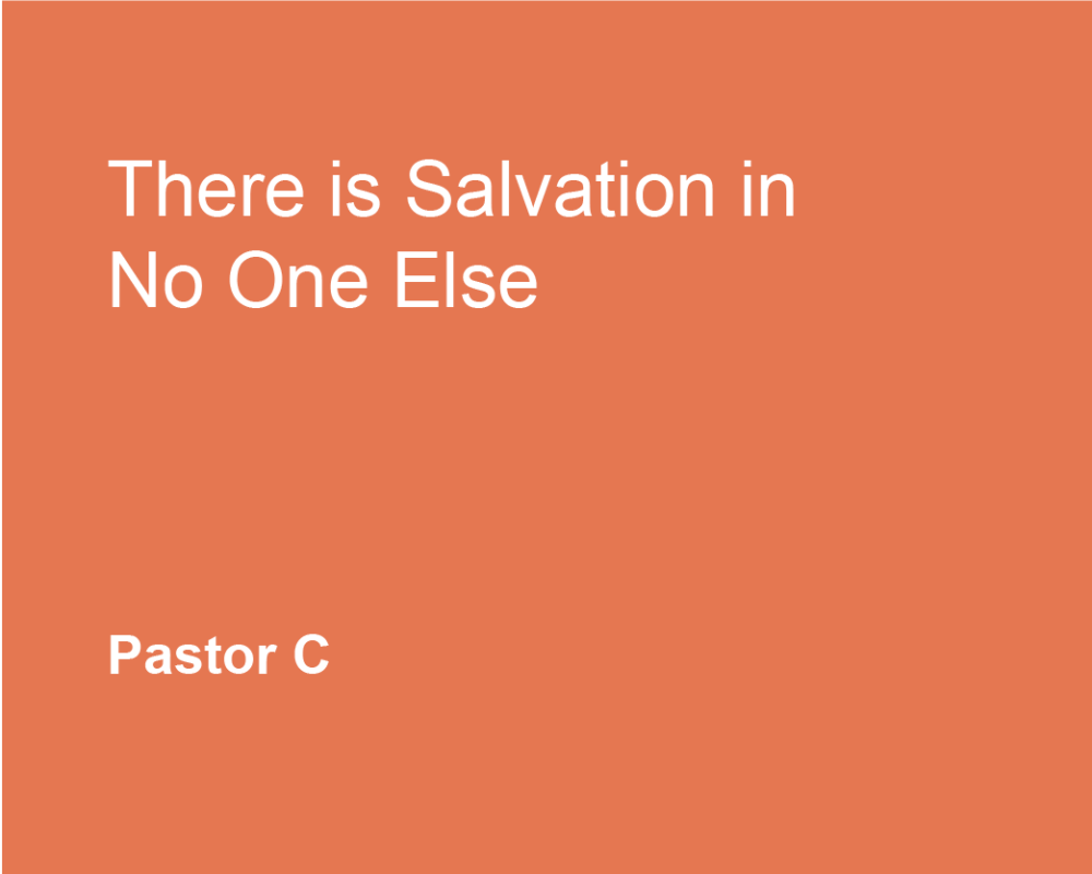 There Is Salvation In No One Esle